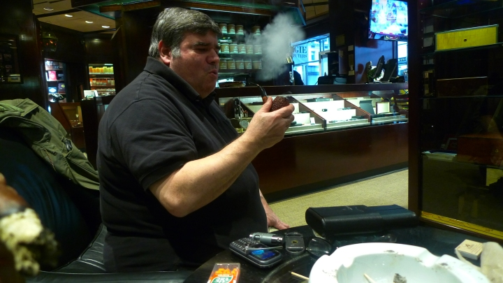Jeff with his Don Carlos Pipe (filled with his own mixture of Black Cavendish) at De La Concha Tobacconist, New York, NY / Leica D-Lux 4