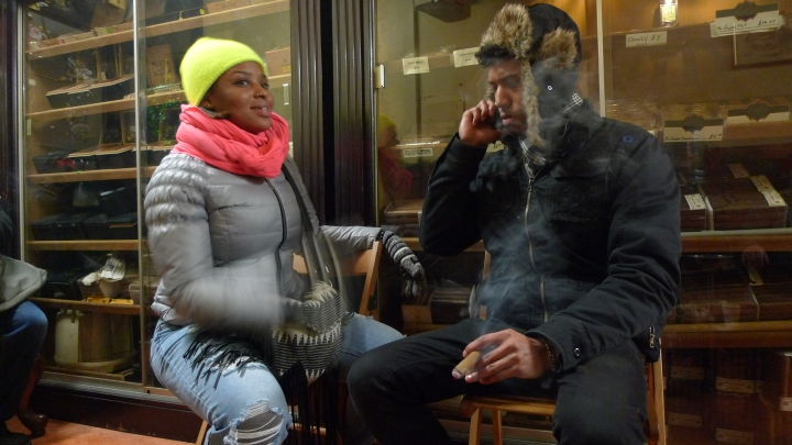 NYC Fine Cigars, Young Couple Cigar Smoking, L1330654