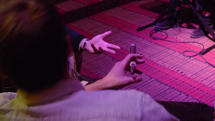 Cigars Smokers conversing, live-music at Carnegie Club, New York, NY / Leica D-Lux 4