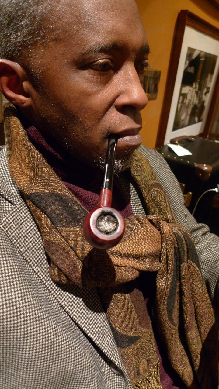 Smoking a Dunhill Pipe / At Nat Sherman, New York, NY / Leica D-Lux 4