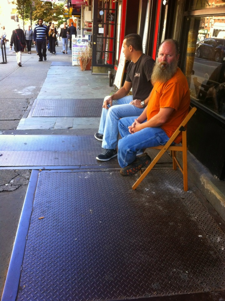 Ninth Avenue, sidewalk in front of NYC Fine Cigars, New York,  NY / iPhone 4