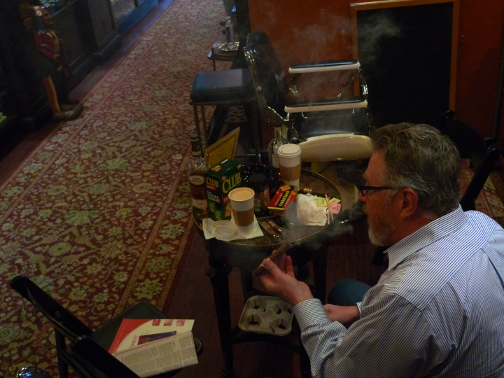 Guest with Cigar, Coffee, Scotch, Cheese and Crackers / Cigar Inn, New York, NY / Leica D-Lux 4