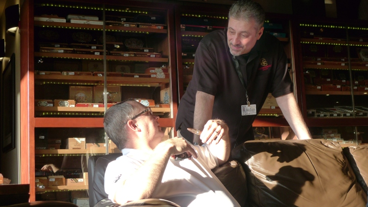Tobacconist with a Cigar Guest / Smokey Joe's, Fife (Seattle), Washington / Leica D-Lux 4