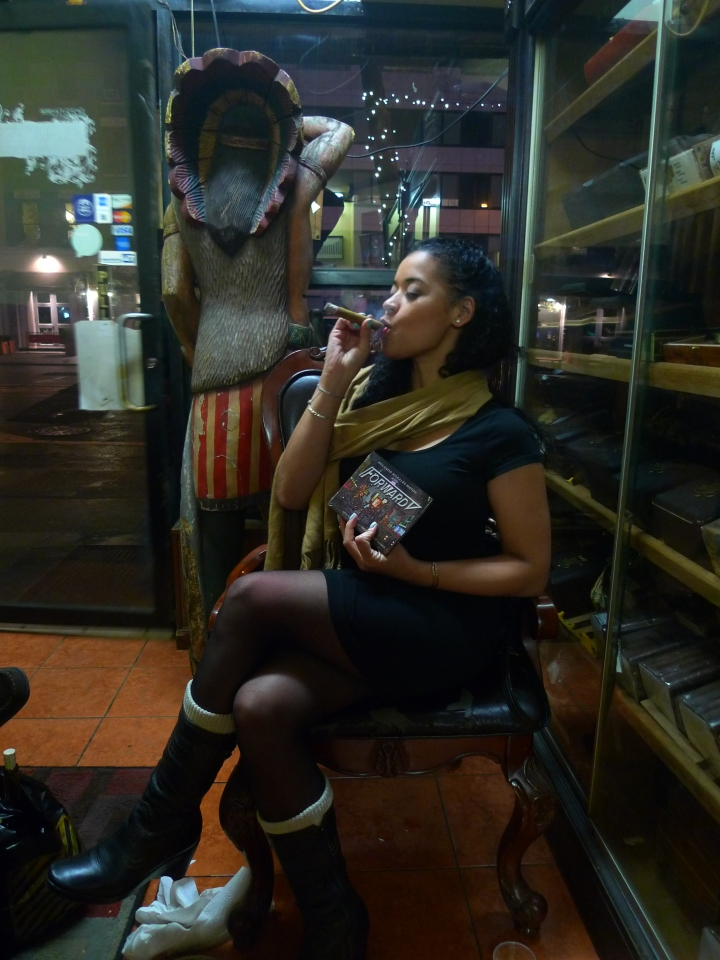 Marjorie (pre-celebrating her Birthday on 3/25/2015) with a Cigar, after seeing 'The Lion King' on Broadway / NYC Fine Cigars, New York, NY / Leica D-Lux 4