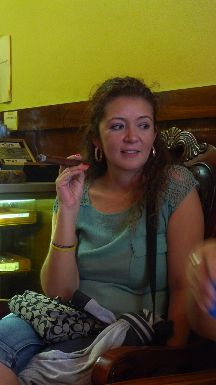 Young Woman from Colombia with Cigar / NYC Fine Cigars, New York, NY / Leica D-Lux 4
