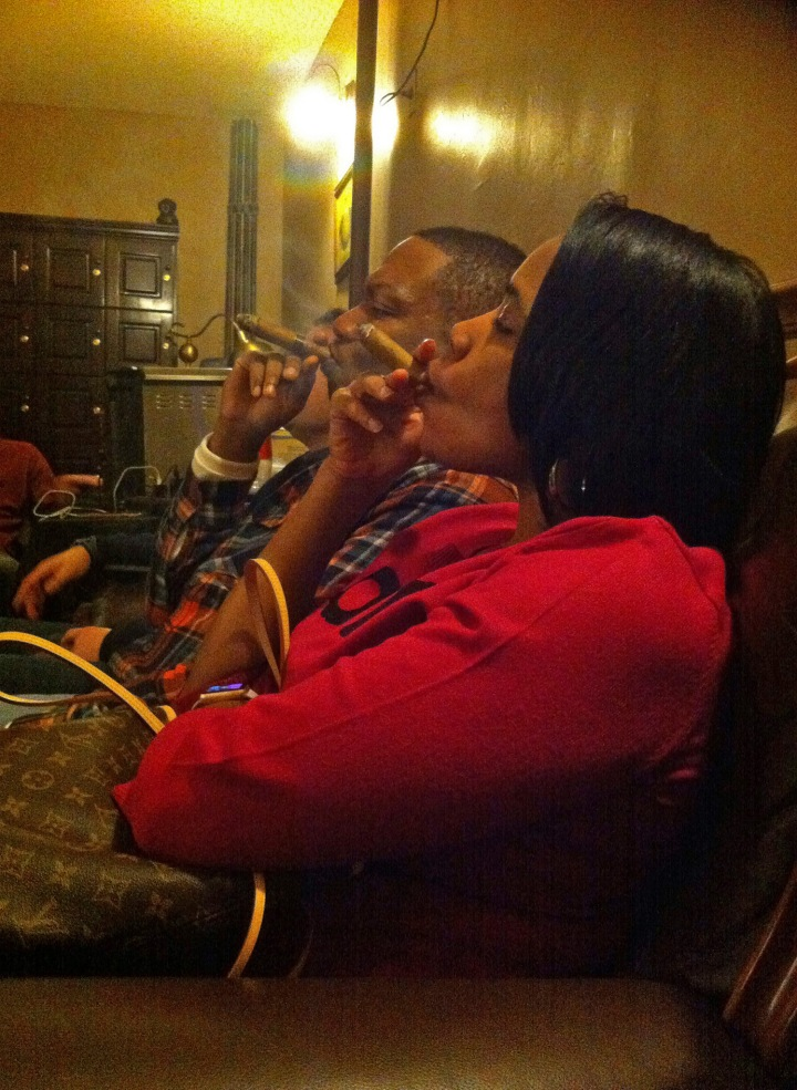 Janelle (with her first cigar) andMarques