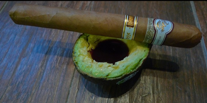 Padron Damaso Cigar with pumpkin seed oil on avocado / NYC Fine Cigars, New York, NY / Leica D-Lux 4 / Photo: Sila Blume